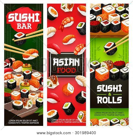 Japanese Sushi Bar Menu Banners Of Maki Rolls With Fish And Seafood In Chopsticks. Vector Asian Cuis