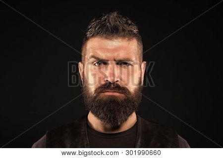 Bearded Man. Male Fashion. Brutal Caucasian Hipster With Moustache. Facial Care. Mature Hipster With