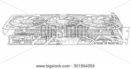 Gpu Card Outline. Vector Rendering Of 3d. Technology Concept. Graphics Card