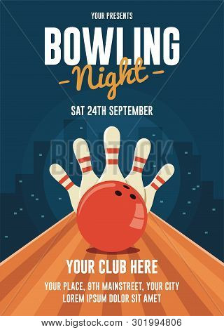 Bowling Night Flyer Template. Bowling League Flyer