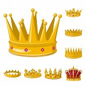 Vector design of monarchy and gold symbol. Set of monarchy and heraldic stock symbol for web. poster
