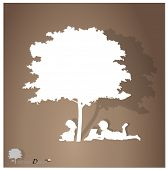 Vector background with children read a book under tree. Vector Illustration. poster