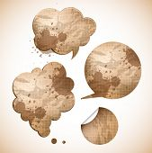 grungy paper speak bubbles and sticker poster