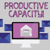 Handwriting text writing Productive Capacity. Concept meaning the maximum possible output of a production plant Open Color Envelope inside Computer Screen. Letter Casing Surrounds the PC. poster
