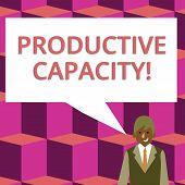 Text sign showing Productive Capacity. Conceptual photo the maximum possible output of a production plant Businessman Smiling and Talking with Blank Rectangular Color Speech Bubble. poster