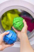Laundry eco washing thermoplastic spheres. eco washing poster