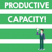 Text sign showing Productive Capacity. Conceptual photo the maximum possible output of a production plant Businessman Looking Up, Holding and Talking on Megaphone with Volume Icon. poster