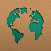 Papercut world map illustration. Green cutout earth in recycled paper for planet conservation awareness. poster