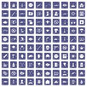 100 oppression icons set in grunge style sapphire color isolated on white background illustration poster