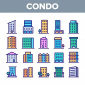 Dwelling House, Condo Linear Vector Icons Set. Condo, Apartment Buildings Thin Line Contour Symbols Pack. Residential Area, Metropolis Pictograms Collection. Urban Architecture Outline Illustrations poster
