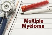 Diagnosis of Multiple Myeloma. Test tubes or bottles for blood, stethoscope and laboratory hematology analysis surrounded by text title of diagnosis of Multiple Myeloma lie in the doctor workplace poster