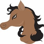 Illustration of a muscular horse with black hair in light back ground poster
