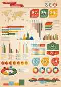 Retro infographics set. World Map and Information Graphics poster