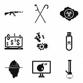 Oppression icons set. Simple set of 9 oppression icons for web isolated on white background poster