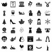 Folklore holiday icons set. Simple set of 36 folklore holiday icons for web isolated on white background poster