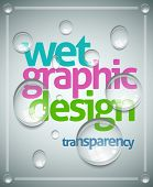 Vector wet poster template. Transparent water drops, text and background are separated layers. Easy editable. poster