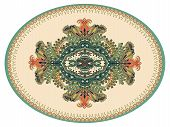 Colorful oval Persian vector design for rug, carpet. Geometric pink, beige floral backdrop. Arabian ornament with decorative elements. Elliptical Turkish carpet with folk national ornament poster