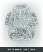 Pets identification stylized dog paw print. Vector illustration. poster