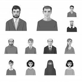 Isolated Object Of Face And Person Icon. Collection Of Face And Portrait Stock Vector Illustration.