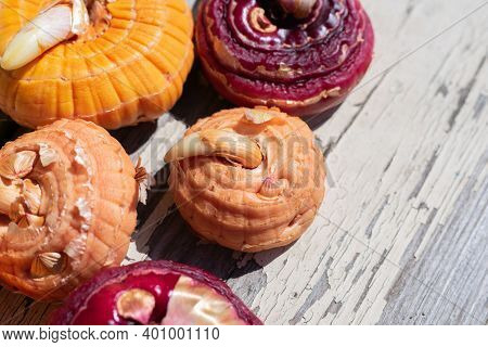 Close Up View Of Group Of Different Colored Gladiolus Flower Bulbs On Wooden Background Are Ready To