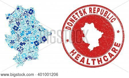 Vector Collage Donetsk Republic Map With Healthcare Icons, Chemical Symbols, And Grunge Health Care