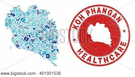 Vector Collage Koh Phangan Map With Injection Icons, Analysis Symbols, And Grunge Health Care Seal S
