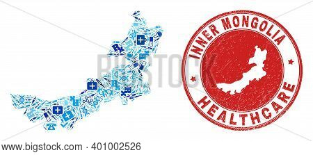 Vector Mosaic Inner Mongolia Map With Vaccination Icons, First Aid Symbols, And Grunge Doctor Rubber