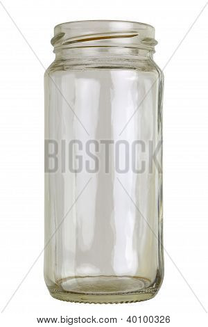 Close up of a empty preserving glass isolated on white. poster
