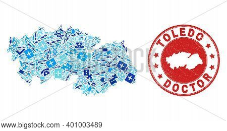 Vector Collage Toledo Province Map With Vaccination Icons, Receipt Symbols, And Grunge Healthcare Ru
