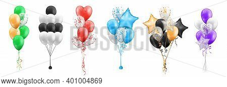 Set Of Color Balloons Bunches Isolated Icons. Bundles Of Cartoon Balloons In Shape Of Stars, Circles
