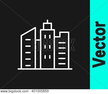 White Line City Landscape Icon Isolated On Black Background. Metropolis Architecture Panoramic Lands