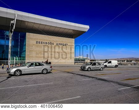 Turkey, Ankara - October 24, 2019: Cars Drive Along The Road Past A Building With A Signboard Esenbo