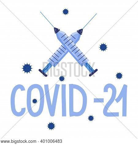 A Logo For A New, Mutated Form Of Coronavirus, Covid 2021. Vector Illustration With A Cross Made Of