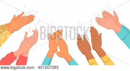 Set Of Clapping Hands Isolated Multinational Various Skin Color Palms. Applauding People, Appreciati