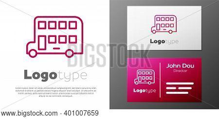 Logotype Line Double Decker Bus Icon Isolated On White Background. London Classic Passenger Bus. Pub