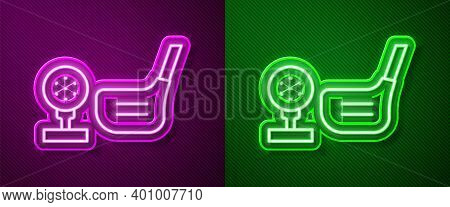 Glowing Neon Line Golf Flag And Golf Ball On Tee Icon Isolated On Purple And Green Background. Golf