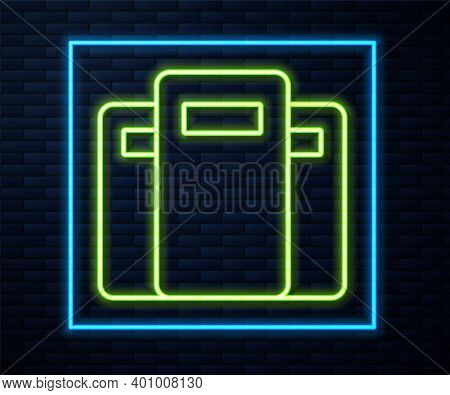 Glowing Neon Line Police Assault Shield Icon Isolated On Brick Wall Background. Vector