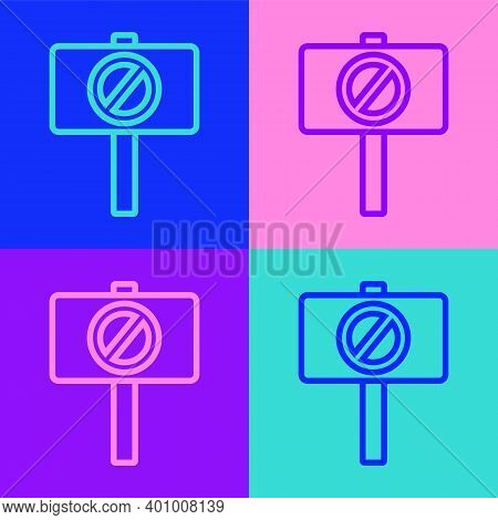 Pop Art Line Protest Icon Isolated On Color Background. Meeting, Protester, Picket, Speech, Banner,