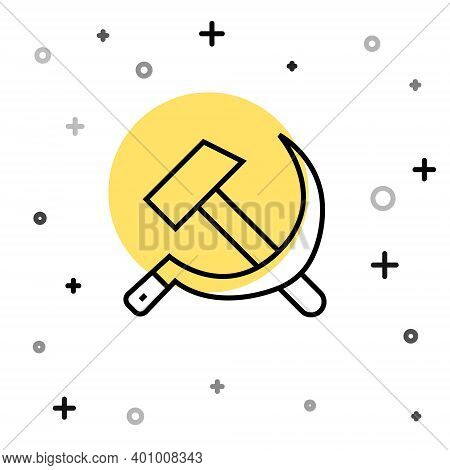 Black Line Hammer And Sickle Ussr Icon Isolated On White Background. Symbol Soviet Union. Random Dyn