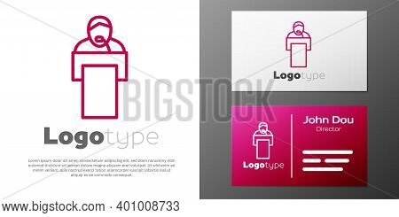 Logotype Line Gives Lecture Icon Isolated On White Background. Stand Near Podium. Speak Into Microph