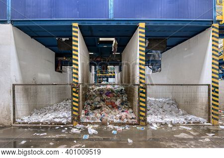 Bunker Storage For Sorted Waste. Containers For Paper And Plastic Bottles. Modern Waste Processing P