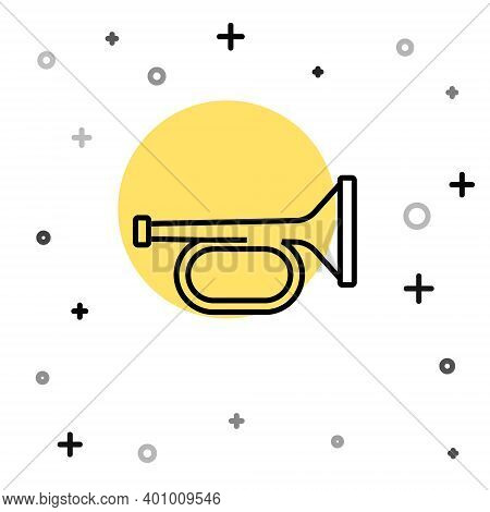 Black Line Trumpet Icon Isolated On White Background. Musical Instrument Trumpet. Random Dynamic Sha