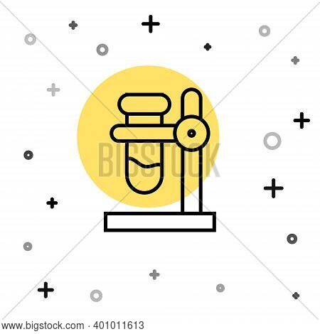 Black Line Glass Test Tube Flask On Stand Icon Isolated On White Background. Laboratory Equipment. R