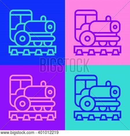 Pop Art Line Vintage Locomotive Icon Isolated On Color Background. Steam Locomotive. Vector