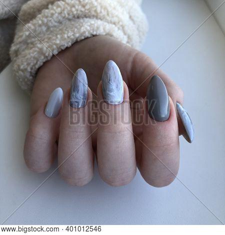 Bright Multi-colored Design Of Manicure.multicolored Manicure Close Up