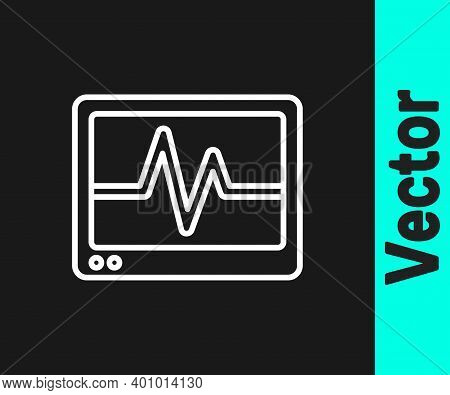 White Line Computer Monitor With Cardiogram Icon Isolated On Black Background. Monitoring Icon. Ecg