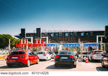 Nice, France. Cars Passing Through The Point Of Toll Highway, Toll Station