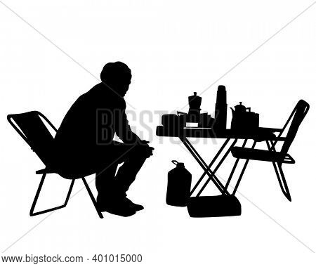 Men and women sit on the ground during a picnic. Isolated silhouettes on white background