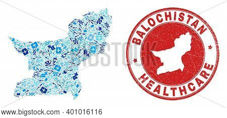Vector Collage Balochistan Province Map With Treatment Icons, Labs Symbols, And Grunge Doctor Imprin