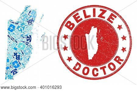 Vector Mosaic Belize Map Of Vaccination Icons, First Aid Symbols, And Grunge Doctor Seal Stamp. Red